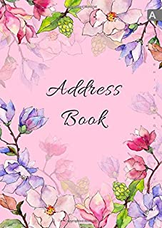 Address Book: A4 Big Contact Notebook Organizer | A-Z Alphabetical Sections | Large Print | Magnolia Wildflower Watercolor Design Pink