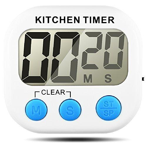 Senhai Temporizador de Cocina, Count up/Down Gran Pantalla LCD Electrónica Temporizador de Memoria
