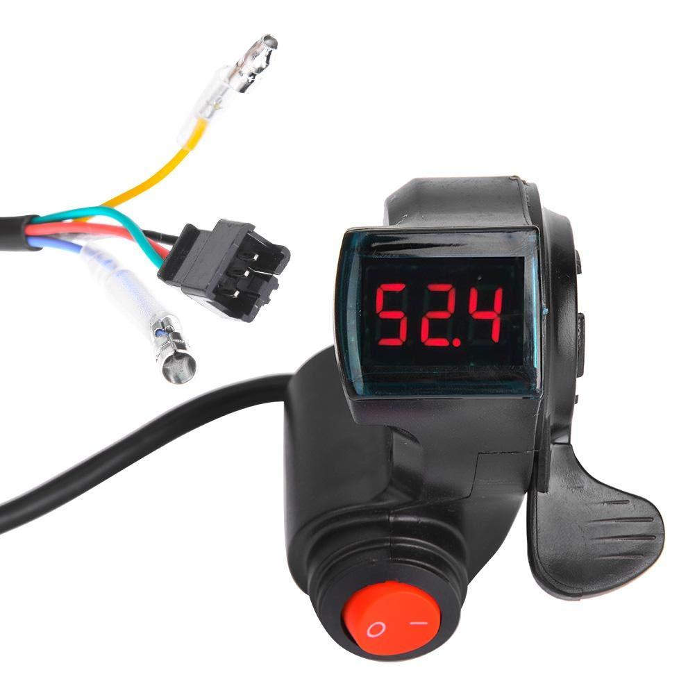 Alomejor Thumb Throttle 12V-99V LED E-Bike Electric Scooter Throttle Grip Handlebar Digital Meter with LCD Display