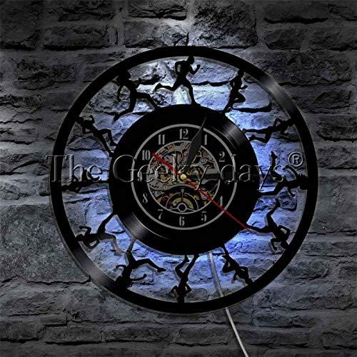 NIGU Reloj vintage maratón corredores silueta lámpara de pared deporte correr atletas LED luz signo corriendo iluminado pantalla futurista lámpara de pared decoración registros
