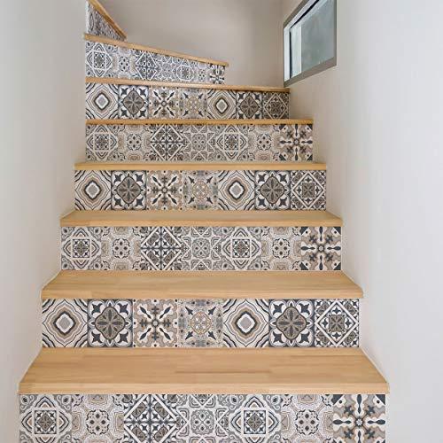 Stickers adhésifs escalier carrelages | Sticker Autocollant contremarche Carreaux de ciment – Stickers contremarche carrelages | Escalier carreaux de ciment adhésif - azulejos – 15 x 105 cm - 4 bandes