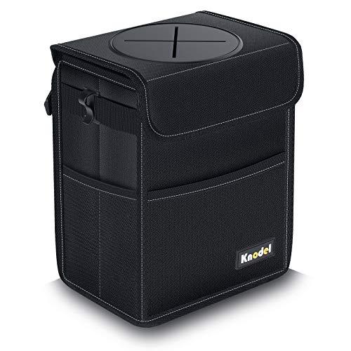 Knodel Car Trash Can, Waterproof Auto Garbage Bag, Car Trash Can with Lid, Leak-Proof Car Storage Bag, Auto Garbage Bag Hanging (Large, Black)