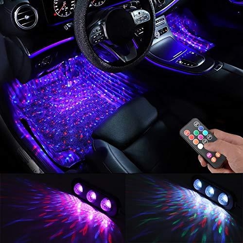 ZSSGSHR 4pcs del Coche LED Luz Estrellada del pie Ambiente USB Ambiente lámpara de Control por Voz Mixta Colorido de la música de Sonido Automotriz Decorativa