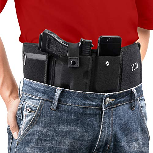 Fuxi Belly Band Gun Holster for Concealed Carry- Gun Holster for Men and Women, Compatible with Smith and Wesson, Shield, Glock 19, 17, 42, 43, P238, Ruger LCP, and Similar Guns(Right)