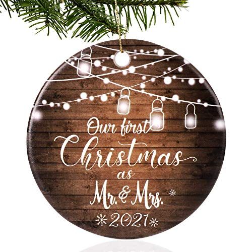2021 First Christmas Ornament, Funny Christmas as Mr & Mrs Couple Married Wedding Decoration 2.9' Ornament, Gag Gift, Keepsake, Ornament to Remember This Year!