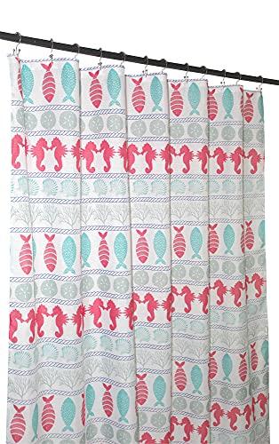 Serafina Home Fun Ocean Sommer Stoff Duschvorhang für Badezimmer: Fisch Seepferdchen Sand Dollar Koralle Muscheln Streifenmuster Design Koralle Rosa Aqua Grau Weiß
