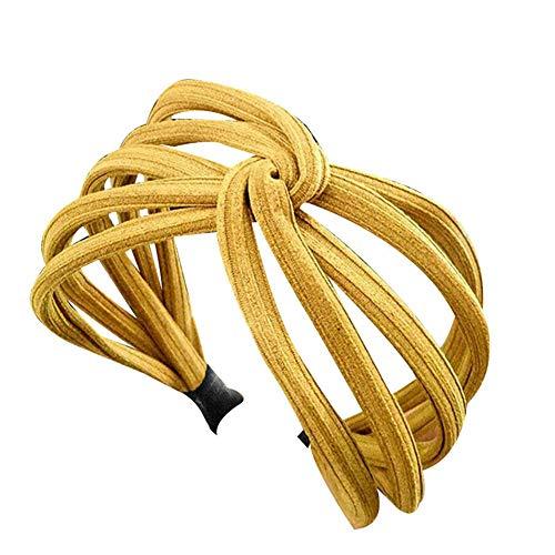Vrouwen Twist Hoofdband Boog Knoop Cross Tie Doek Hoofddoek Haarband Hoop Geel