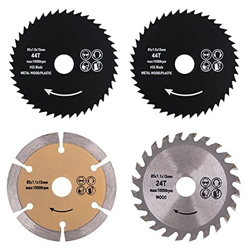 CEE 3-3/8 Inch Circular Saw Blade Set 4 Pack 15mm Arbor Carbide Tip TCT/HSS/ Diamond Circular Saw Blade Fit Craftsman Trak Cut Metal, Plastic, Wood, Tile Cutting, 24T, 44T & 60 Grits Mini Saw Blades