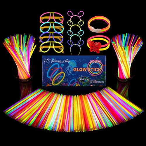 Trimming Shop Paquete de 100 varillas brillantes con conectores Mega Party para crear collares de neón, pulseras brillantes, diademas, gafas, mariposa (224 piezas en total)