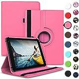 Tablet Hülle kompatibel für Medion Lifetab E6912 Tasche Schutzhülle Hülle Cover aus Kunstleder Standfunktion 360° Drehbar, Farben:Pink