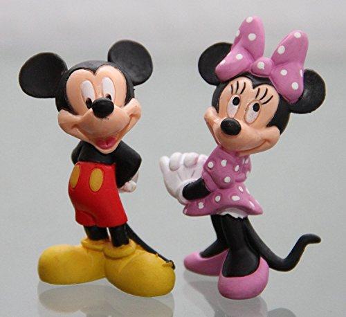Disney Bullyland - MICKY & MINNIE MAUS- Figur : MICKY MAUS (MICKEY MOUSE) / ca. 6 cm + MINNIE MAUS / 6,5 cm - Walt