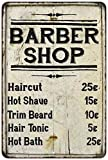 Barber Shop Price List Farmhouse Style Metal Sign Home Wall Tin Sign 8'X12' Decoration