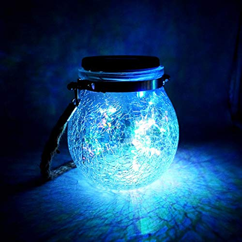 SJHP LED Cadena de Bola Cristal Luz Lámparas Solares Exterior Luce Notturna Vidrio Agrietado Creativo para Decoración Jardín Fiesta Balcón Navidad Vacaciones Bodas