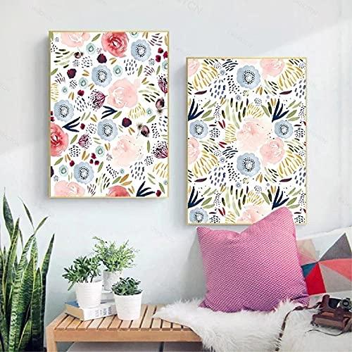 Carteles e impresiones florales minimalistas imágenes artísticas de pared habitación de niñas decoración de dormitorio lienzo pintura sin marco 40X60X2 piezas sin marco