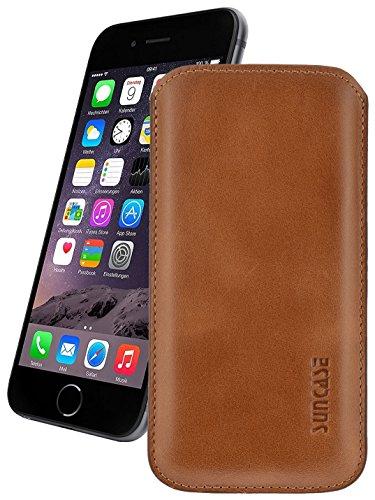 Original Suncase Leder Etui für iPhone 7 / 6s / 6 (4.7 Zoll) Ultra Slim Tasche Handytasche Ledertasche Schutzhülle Case Hülle (Mit Rückzuglasche) Cognac