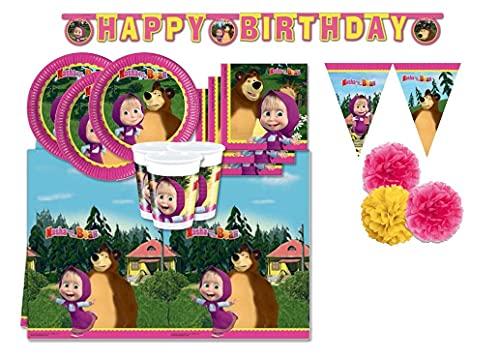 Pot Kit per Compleanno Bambini n. 57 Masha e Orso, Il Simpatico Cartone Animato Amato dai Bambini Grandi e Piccoli