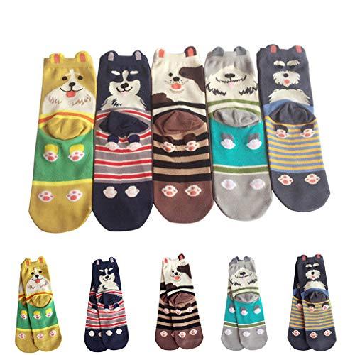 Amphia - 5 Paare - Herren- und Damenstrümpfe - Cartoon/Welpe/gestreifte Socken5 Paare Frauen Mädchen Druck Cartoon Hund Streifen Mid Tube Cute Socken