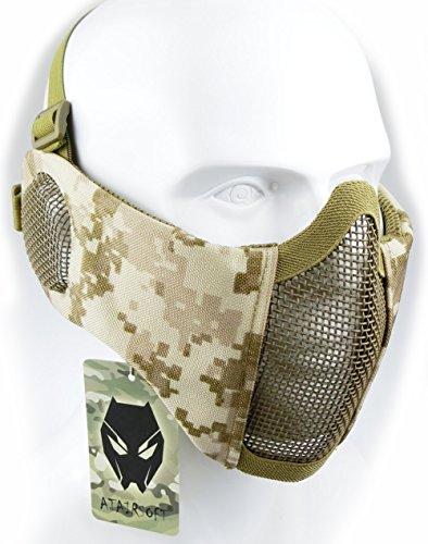 Worldshopping4u Taktische halbe Gesichtsmaske, für Airsoft, Schutz für untere Gesichtshälfte, Geflecht, Nylon, mit Ohrschutz, AOR1