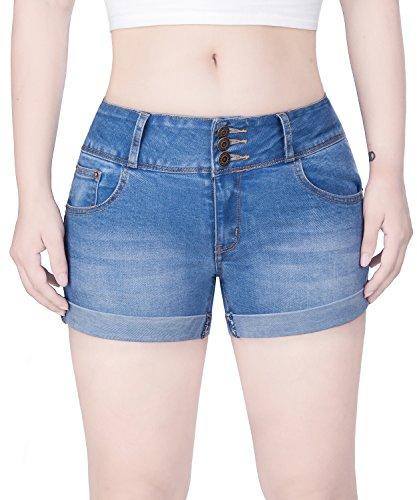 COLINNA Women's Juniors Mid Thigh Stretch Vintage Folded Hem Casual Denim Jean Shorts