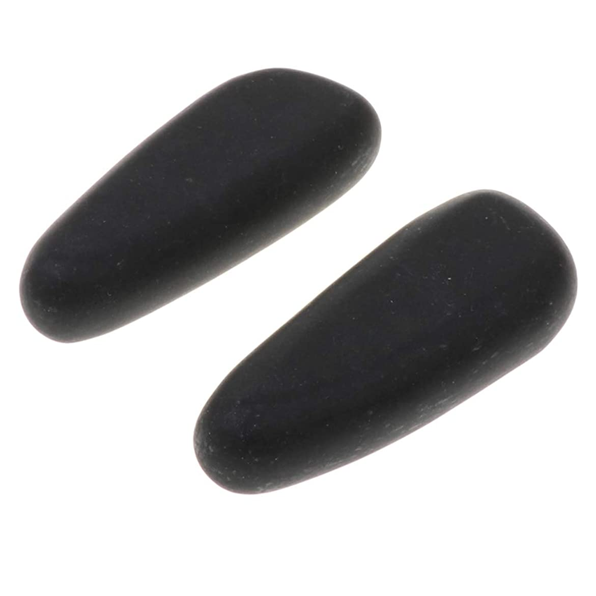 貝殻周辺気絶させるsharprepublic 天然石ホットストーン マッサージストーン 玄武岩 ボディマッサージ 実用 ツボ押しグッズ 2個 全2サイズ - 8×3.2×2cm
