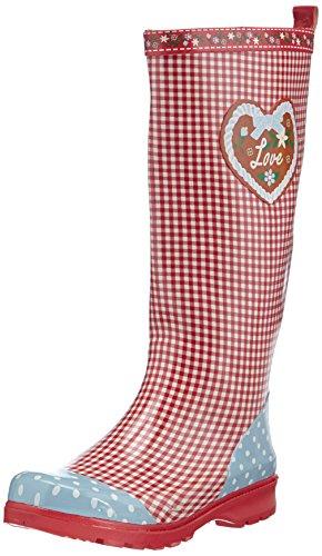 Playshoes rubberen laarzen voor dames, trendy regenlaarzen van natuurlijk rubber, met uitneembare binnenzool, met landelijke motief