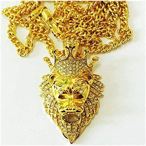 YOUZYHG co.,ltd Corona de león Colgante Collares Pendientes Hombres Mujeres Cristal Collar de Cabeza de león Encanto Collar de Color Dorado Regalo de la joyería (Color del Metal: Oro) -Oro
