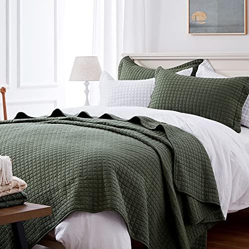 SunStyle Home Steppdecken-Set Queen Olivgrün leichte Tagesdecke weich wendbar für alle Jahreszeiten 3-teiliges Armeegrün gestepptes Bettwäsche-Set (1 Steppdecke, 2 Kissenbezüge) (228,6 x 243,8 cm)