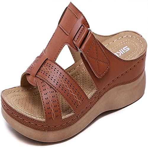 YNWJ - Sandali ortopedici da donna, con fibbia, antiscivolo, alla moda, con plateau e tacco alto, da indossare al bagnato, colore: Marrone