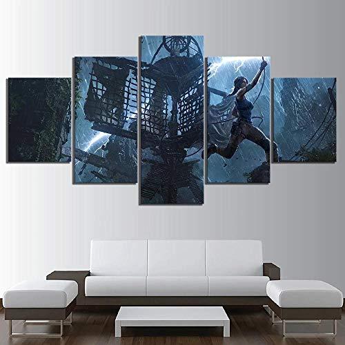 Impresiones sobre Lienzo 5 Panel Imprimir Cuadro Lienzo Pared Modernos Niños Cartel Decoración para El Hogar Póster Videojuego Shadow of The Tomb Raider Cuadro/150x80cm