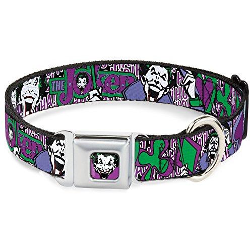 Hundehalsband, Sicherheitsgurtschnalle, Joker-Gesicht, Logo, Spaten, Schwarz, Weiß, Lila, 38,1 bis 66 cm, 2,5 cm breit