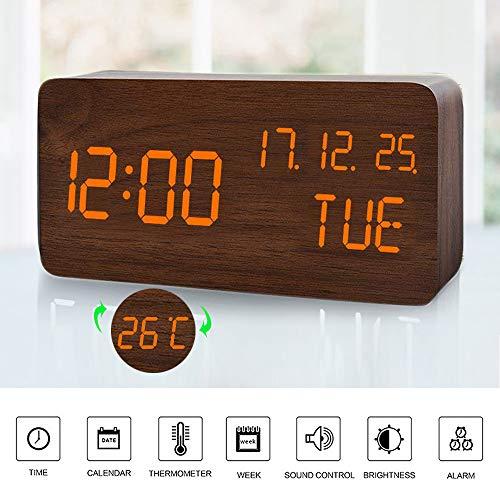 Mumuwin Houten wekker met 3 instelbare helderheidsniveaus, stembediening, kleine digitale bureauzwekker met dag/datum/temperatuur USB/werkt op batterijen, voor thuis (bruin/oranje)