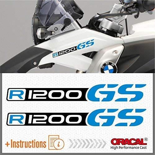 2pcs R1200 GS Motorrad R 1200 ADVENTURE ADESIVI R1200GS Moto (Nero/Azzurro)