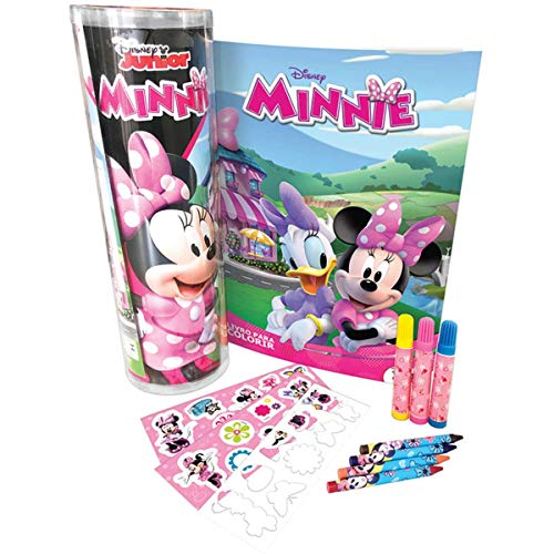 DCL Livro Infantil Colorir Minnie Tubo C/Adesivo/Giz/Canetinha , Multicores