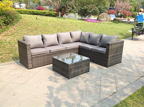 Fimous 6 Seater Grey Rattan Corner Sofa Set Coffee Table Garden Furniture Outdoor