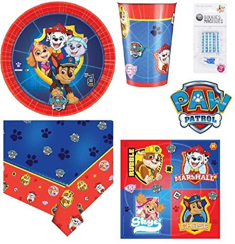 Set de Cumpleaños Completa Paw Patrol La Patrulla Canina 8 niños (8 Platos, 8 Tazas, 16 servilletas,1 Mantel + 10 Velas mágicas ofrecidas) Fiesta Mesa de decoración Novedad 2019
