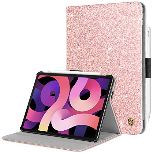 BENTOBEN iPad Air 4th Generation Case 2020 with Pencil Holder, Glitter Sparkly Folio Adjustable Kickstand Cover Auto Wake/Sleep Luxury Smart Case for iPad Air 4 2020 10.9', Rose Gold