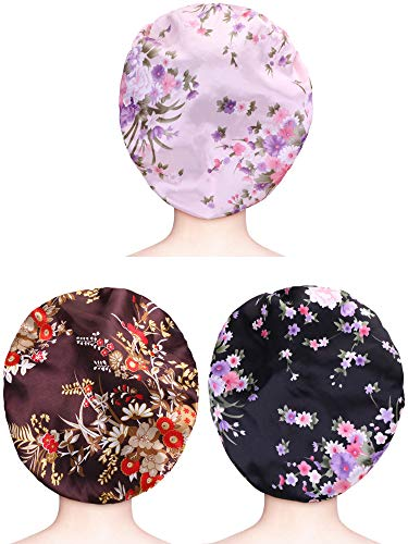 3 Pieces Satin Sleep Cap Elastic Wide Band Hat Night Sleeping Head Cover for Sleeping Supplies (Style Set 3, 3 Pieces)