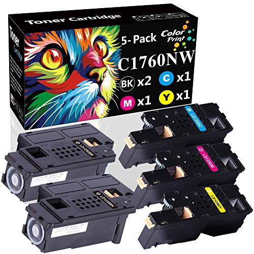 5-Pack ColorPrint Compatible C1760NW Toner Cartridge Replacement for Dell 1250C 1350CNW 1355CN 1355CNW C1765NF 810WH C5GC3 XMX5D WM2JC 1250 Printer (2xBlack 1x Cyan 1x Magenta 1x Yellow)