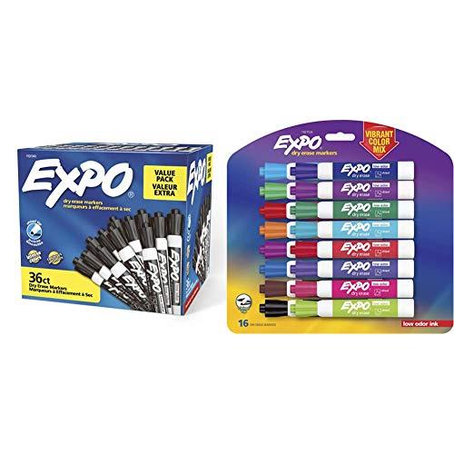 Expo Low Odor Dry Erase Marker | Chisel Tip Markers | Whiteboard Markers, Black, 36 Count & 1927526 Low-Odor Dry Erase Markers, Chisel Tip, Vibrant Colors, 16-Count