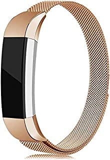 Compatible for Fitbit Alta Bands, Stainless Steel Metal Replacement Bracelet Strap with Unique Magnet Lock for Fitbit Alta and Alta HR (Rose Gold, Small)