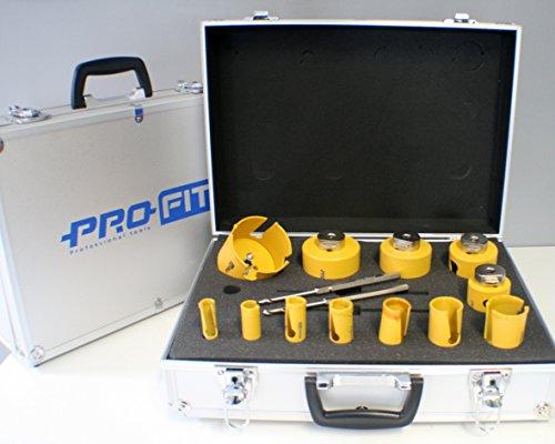 PRO-FIT Multi-Purpose-Lochsägensatz 12-teilig Ø 16-20-22-25-29-35-44-51-64-67-76-82mm mit integriertem Adaptor und je 1 St. Click & Drill Zentrierbohrer (HSS) DDH1MP & DDH2MP