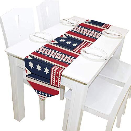 Camino de mesa para el día de la independencia con elementos de la bandera americana de doble cara, corredor de tela para bodas, fiestas, vacaciones, cocina, comedor, hogar, decoración diaria