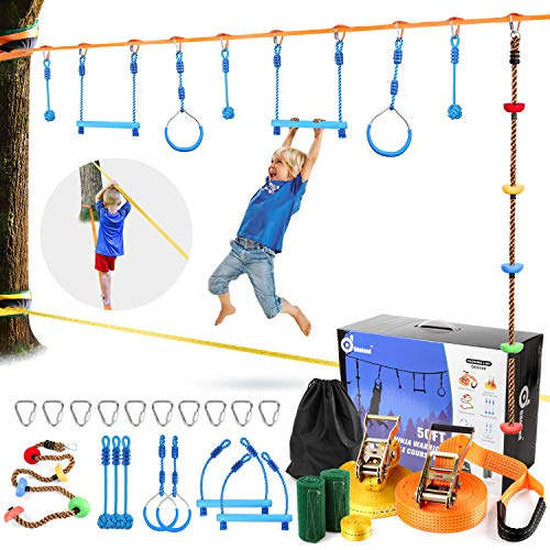 Odoland 50ft Ninja Slackline line with 8 Obstacle Course Setting, Outdoor Ninja Warrior Kit Training Equipment for Kids with Swing...
