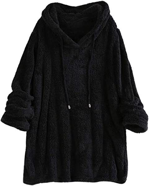 TIANRUN Winter Women Plush Hooded Sweatshirts Solid Color Long Sleeve Shaggy Pullovers With Pockets Short Tops