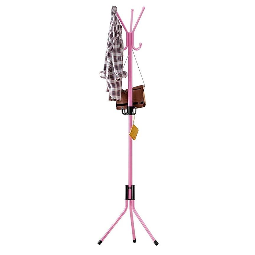 主婦最適塩コートラックスタンド コートラックハットスタンドフリースタンディングディスプレイホールツリーメタルハットハンガーガーメントストレージホルダー服用帽子とスカーフ、ホームオフィス廊下寝室用10フック付き 工業用コートツリー (Color : Pink, Size : 52×172cm)