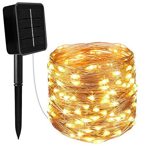 Luozy LED Lichtschlauch,100 LEDs lichterschlauch IP55 Wasserfest Solar Innen und Außen Lichterkette mit 8 Modi für Saal, Garten, Weihnachten, Hochzeit, Party, Terrasse - Warmweiß