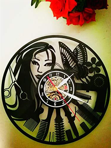 Meet Beauty-Reloj de Pared de Vinilo, Ideal para peluquería, Peluquería, Peluquería, Negocios, diseño Moderno, 30,5cm, Color Negro