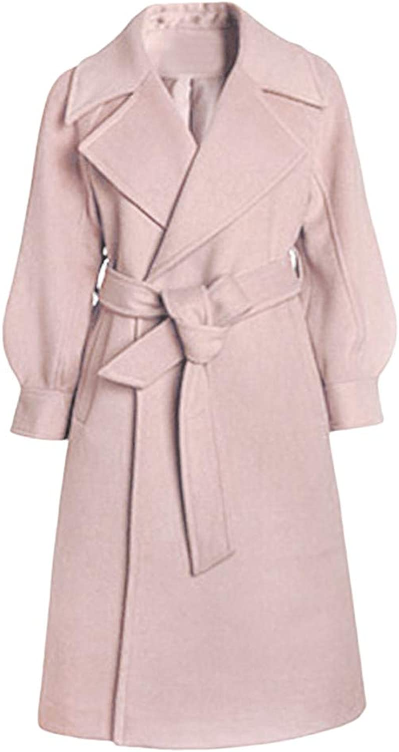 Baulody Women's Winter Lapel Wool Coats Notched Double Breasted Trench Outwear