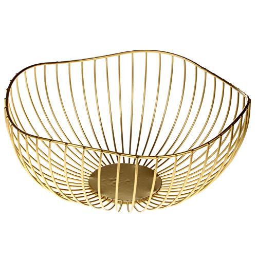 MACOSA Deko-Schale Dekokorb Metall Gold Moderne Design-Schale Metall -Korb Aufbewahrungskorb Küchenkorb Drahtkorb Gemüsekorb Obstkorb Obst-Schale