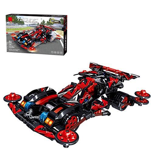PARIO Juego de 398 piezas de coche retractor, juego de construcción 4 WD Pull Back Car MOC para minifiguras de juguete de construcción compatible con Lego